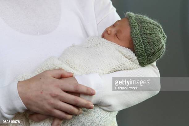 New Zealand Prime Minister Jacinda Ardern poses for a photo with her new baby girl Neve Te Aroha Ardern Gayford on June 24 2018 in Auckland New...