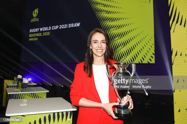 New Zealand Prime Minister, Jacinda Ardern, poses with the Women's Rugby World Cup during the Rugby World Cup 2021 Draw event at the SKYCITY Theatre...