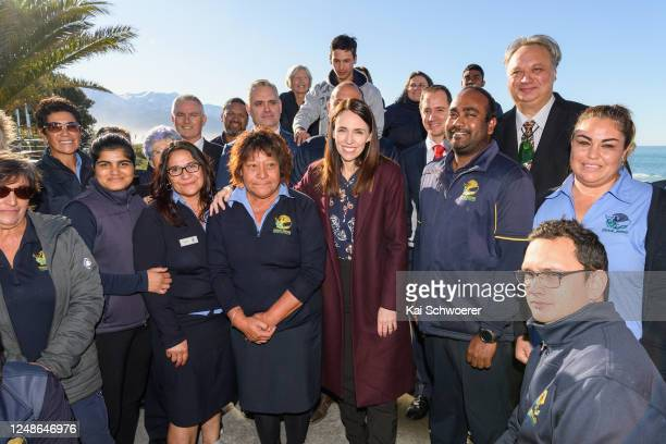 New Zealand Prime Minister Jacinda Ardern poses with Whale Watch Kaikoura staff members on June 10 2020 in Kaikoura New Zealand Prime Minister...