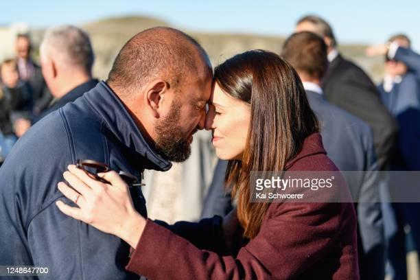 New Zealand Prime Minister Jacinda Ardern receives a hongi from Whale Watch Kaikoura General Manager Kauahi Ngapora at South Bay Marina on June 10,...