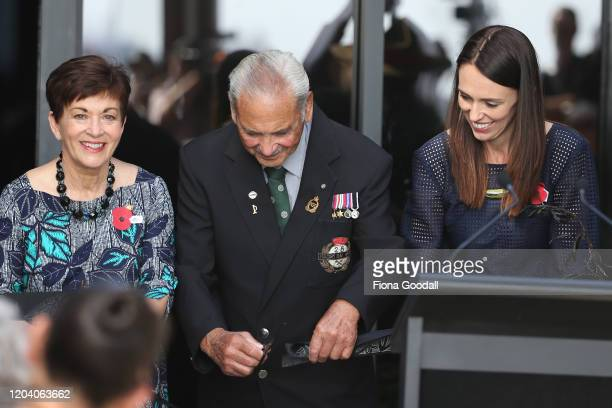 New Zealand Prime Minister Jacinda Ardern Robert Bom Gillies one of only two surviving members of the Maori Battalion and Govenor General Dame Patsy...