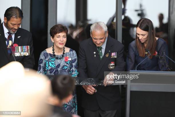 New Zealand Prime Minister Jacinda Ardern Robert Bom Gillies one of only two surviving members of the Maori Battalion Willie Apiata VC and Govenor...