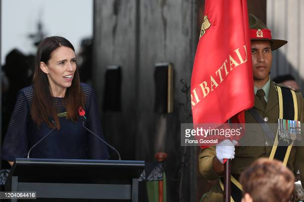 New Zealand Prime Minister Jacinda Ardern speaks at Te Rau Aroha on February 05 2020 in Waitangi New Zealand The $146 million Maori Battalion Museum...