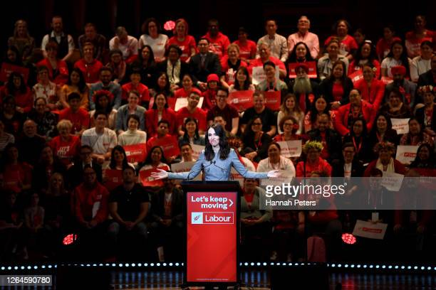 New Zealand Prime Minister Jacinda Ardern speaks at the Labour Party 2020 election campaign launch on August 08, 2020 in Auckland, New Zealand. The...
