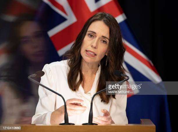 New Zealand Prime Minister Jacinda Ardern speaks during the post-Cabinet media conference at Parliament House in Wellington on April 20 where she...