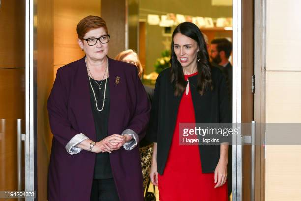 New Zealand Prime Minister Jacinda Ardern speaks to Australian Foreign Affairs Minister Marise Payne prior to a meeting at Parliament on December 16,...