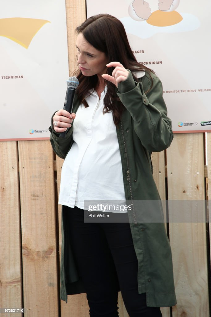 New Zealand Prime Minister Jacinda Ardern speaks to children during a walkabout at the Mystery Creek Fieldays on June 14, 2018 in Hamilton, New Zealand. The public appearance is expected to be the Prime Ministers last before giving birth to her baby due on Sunday.