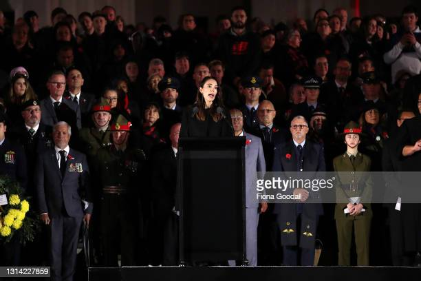 New Zealand Prime Minister Jacinda Ardern speaks to commemorate Anzac Day at the Auckland War Memorial Museum on April 25, 2021 in Auckland, New...