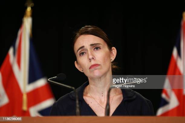 New Zealand Prime Minister Jacinda Ardern speaks to media at Parliament on March 17 2019 in Wellington New Zealand 50 people are confirmed dead and...