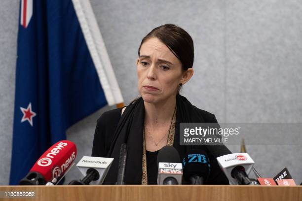 TOPSHOT New Zealand Prime Minister Jacinda Ardern speaks to the media during a press conference at the Justice Precinct in Christchurch on March 16...