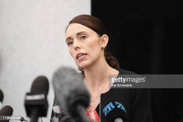 New Zealand Prime Minister Jacinda Ardern speaks to the media during a press conference at the Justice and Emergency Services precinct on March 20...