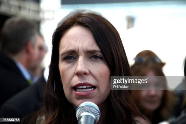 New Zealand Prime Minister Jacinda Ardern speaks to the media during the Mystery Creek Fieldays on June 14 2018 in Hamilton New Zealand The public...