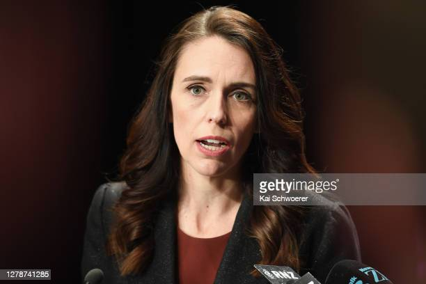 New Zealand Prime Minister Jacinda Ardern speaks to the media following The Press Leaders Debate at Christchurch Town Hall on October 06, 2020 in...