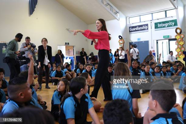 New Zealand Prime Minister Jacinda Ardern takes questions from school children at the Homai School in Manurewa on April 15, 2021 in Auckland, New...