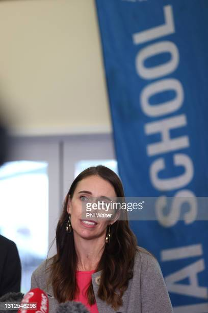 New Zealand Prime Minister Jacinda Ardern takes questions from the media at the Homai School in Manurewa on April 15, 2021 in Auckland, New Zealand....
