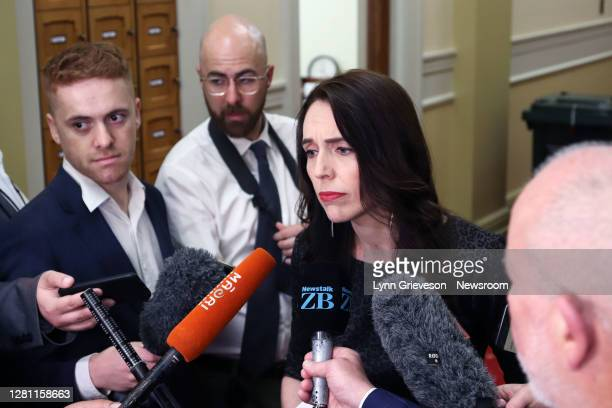 New Zealand Prime Minister Jacinda Ardern talks to press gallery reporters on October 20, 2020 in Wellington, New Zealand. Labour's Jacinda Ardern...