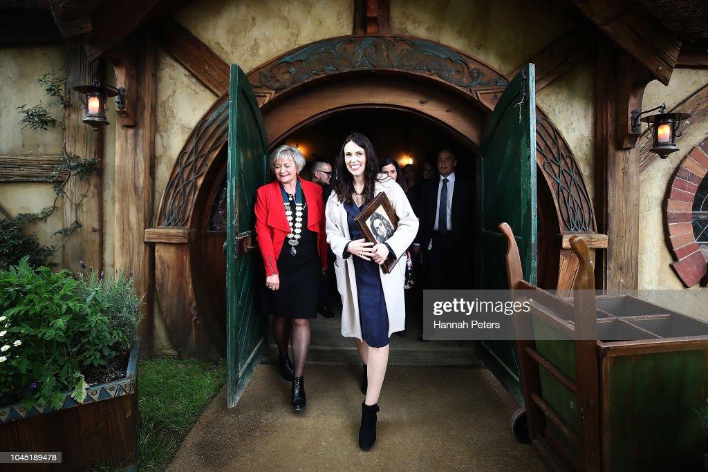 Jacinda Ardern Detail: New Zealand Prime Minister Jacinda Ardern Tours Hobbiton
