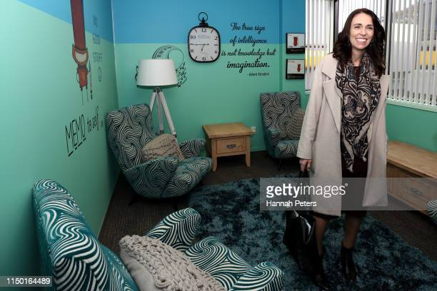 New Zealand Prime Minister Jacinda Ardern visits the Te Pou Herenga Waka facility on May 19 2019 in Auckland New Zealand The Government will spend...
