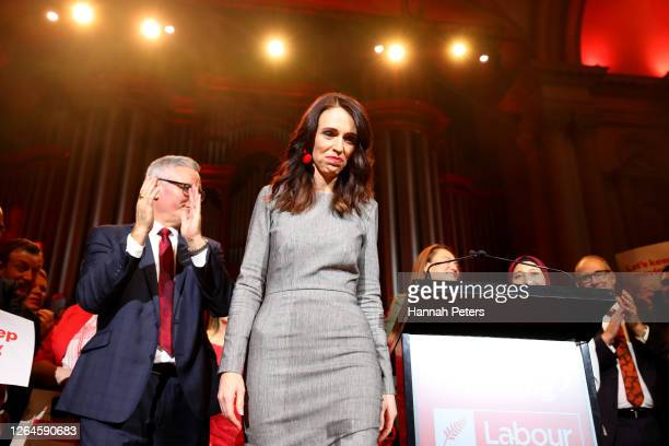 New Zealand Prime Minister Jacinda Ardern walks off stage after speaking at the Labour Party 2020 election campaign launch on August 08, 2020 in...