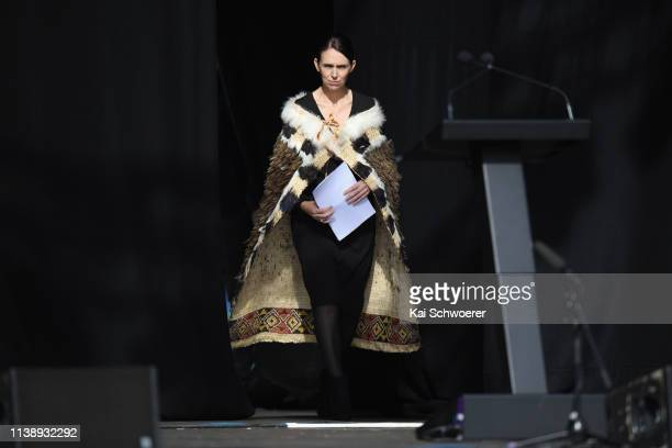 New Zealand Prime Minister Jacinda Ardern walks on stage to speak during the National Remembrance Service on March 29 2019 in Christchurch New...