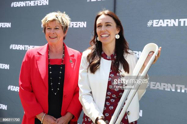 New Zealand Prime Minister Jacinda Ardern with the Queens Baton and NZOC CEO Kereyn Smith during the Queens Baton Relay at Victoria Park on December...