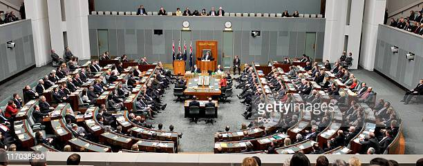 New Zealand Prime Minister John Key addresses a joint sitting of the Australian parliament in the House of Representatives chamber at Parliament...