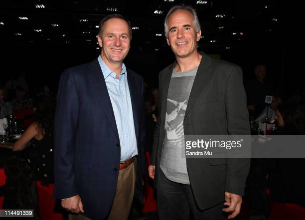 New Zealand Prime Minister John Key and Andrew Ferrier Chief Executive Officer of Fonterra pose during the Rise Up Christchurch telethon appeal event...