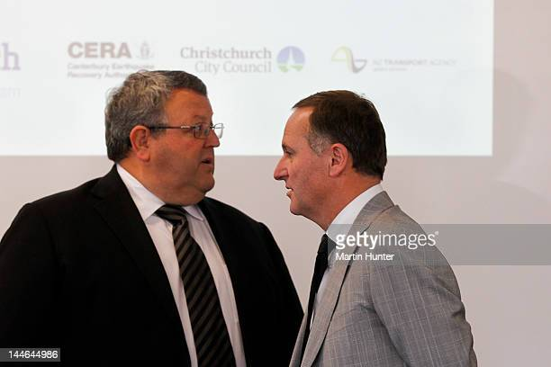 New Zealand Prime Minister John Key and Canterbury Earthquake Recovery Minister Gerry Brownlee at prebudget announcement on May 17 2012 in...