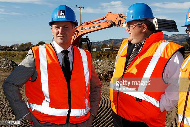 New Zealand Prime Minister John Key and Canterbury Earthquake Recovery Minister Gerry Brownlee during a visit to Longhurst housing subdivision on May...