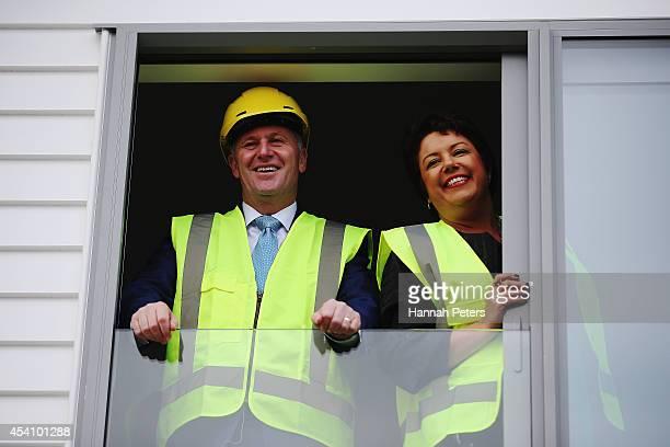 New Zealand Prime Minister John Key and Minister for Social Development Paula Bennett visit the Hobsonville Housing Development on August 25 2014 in...