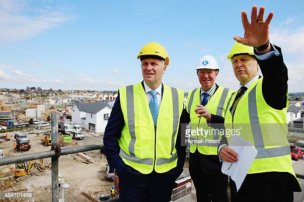 New Zealand Prime Minister John Key and Minister of Housing Nick Smith visit the Hobsonville Housing Development on August 25 2014 in Auckland New...