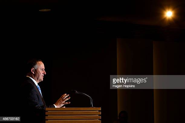 New Zealand Prime Minister John Key announces his new Ministry at Beehive Theatrette on October 6 2014 in Wellington New Zealand John Key became the...