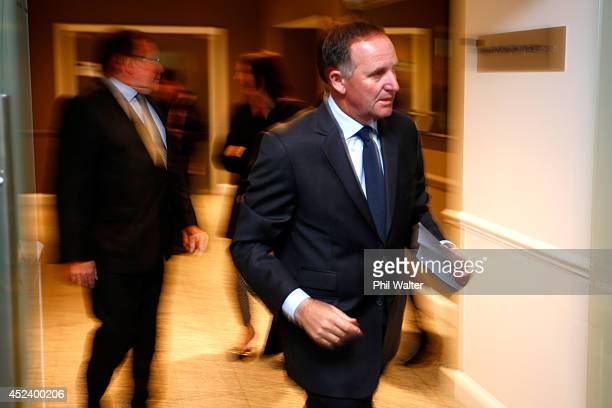 New Zealand Prime Minister John Key arrives to answer questions surrounding Malaysian Airlines flight MH17 and also the situation in Gaza at the...