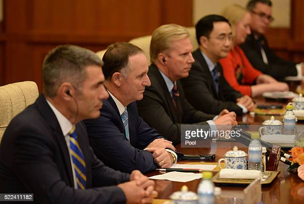 New Zealand Prime Minister John Key attends a meeting with Chinese President Xi Jinping at the Diaoyutai State Guesthouse on April 19 2016 in Beijing...
