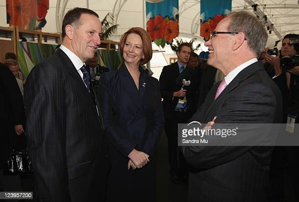 New Zealand Prime Minister John Key Australian Prime Minister Julia Gillard and Auckland Mayor Len Brown chat before the Official Opening of the 42nd...