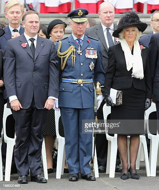 New Zealand Prime Minister John Key, Camilla, Duchess of Cornwall and Prince Charles, Prince of Wales attend an Armistice Day Commemoration at the...