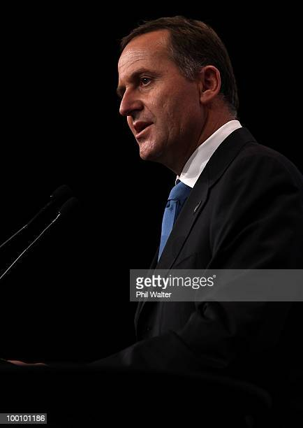 New Zealand Prime Minister John Key delivers his postBudget speech during the TransTasman Business Circle lunch at the Sky City Convention Centre on...
