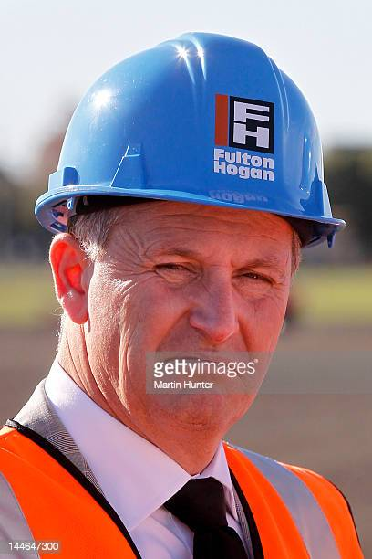 New Zealand Prime Minister John Key during a visit to Longhurst housing subdivision on May 17 2012 in Christchurch New Zealand Prime Minister Key...