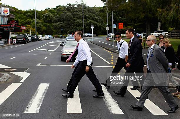 New Zealand Prime Minister John Key during walk along Mission Bay on November 23 2011 in Auckland New Zealand New Zealanders will head to the polls...