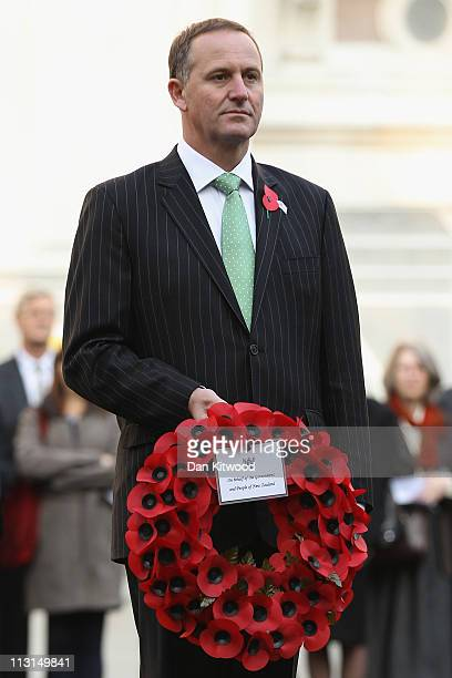 New Zealand Prime Minister John Key holds a wreath at the Cenotaph on Whitehall on April 25 2011 in London England The annual ANZAC memorial service...