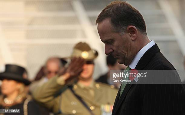 New Zealand Prime Minister John Key joins in a service of remembrance at the Cenotaph on Whitehall on April 25 2011 in London England The annual...