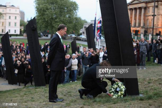 New Zealand Prime Minister John Key joins Joe Davies Head Boy of Linwood college to lay a wreath at the New Zealand War Memorial on April 25 2011 in...