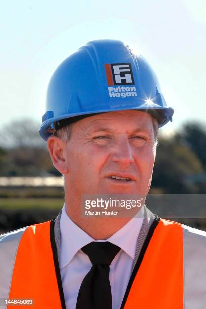 New Zealand Prime Minister John Key looks on during a visit to Longhurst housing subdivision on May 17 2012 in Christchurch New Zealand Prime...