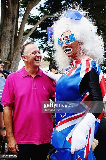 New Zealand Prime Minister John Key meets members of the public at The Big Gay Out on February 14 2016 in Auckland New Zealand