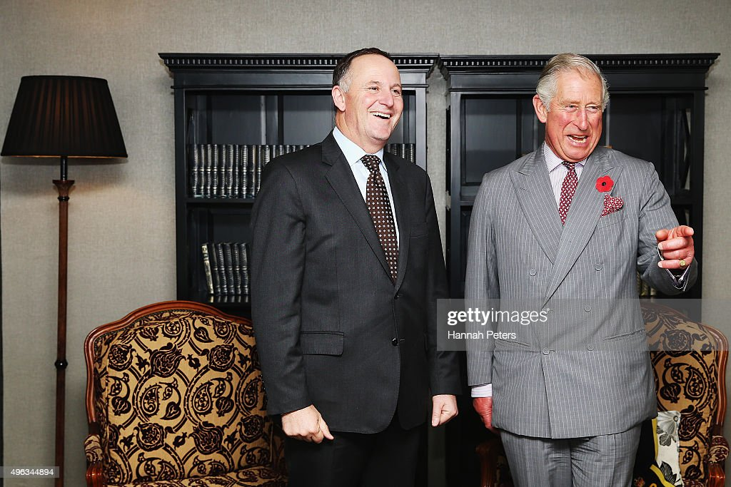 New Zealand Prime Minister John Key meets Prince Charles, Prince of Wales at the Langham Hotel on November 9, 2015 in Auckland, New Zealand. The Royal couple are on a 12-day tour visiting seven regions in New Zealand and three states and one territory in Australia.