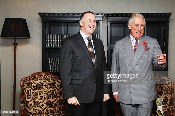 New Zealand Prime Minister John Key meets Prince Charles Prince of Wales at the Langham Hotel on November 9 2015 in Auckland New Zealand The Royal...