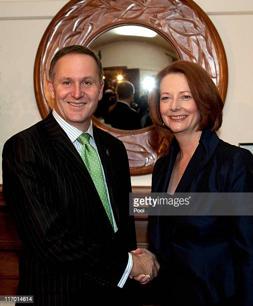New Zealand Prime Minister John Key meets with his Australian counterpart Julia Gillard during a meeting at her official residence on June 19 2011 in...