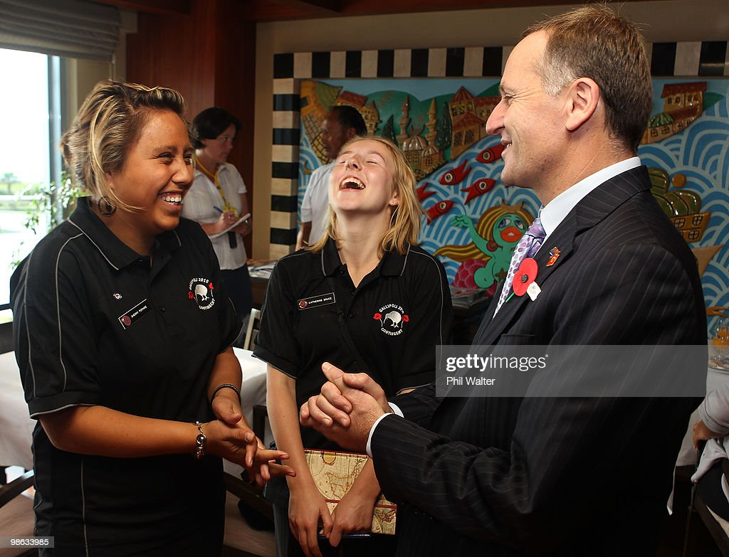 New Zealand Prime Minister John Key (R) meets with New Zealand school children Sherry Pomare (L) and Katherine Bruce (C) on April 23, 2010 in Canakkale, Turkey. April 25 will commemorate the 95th anniversary of ANZAC (Australia New Zealand Army Corps) Day, when First World War troops landed on the Gallipoli Peninsula, Turkey early April 25, 1915. Today April 25 is commemorated with ceremonies of remembrance for those who fought and died in all wars.