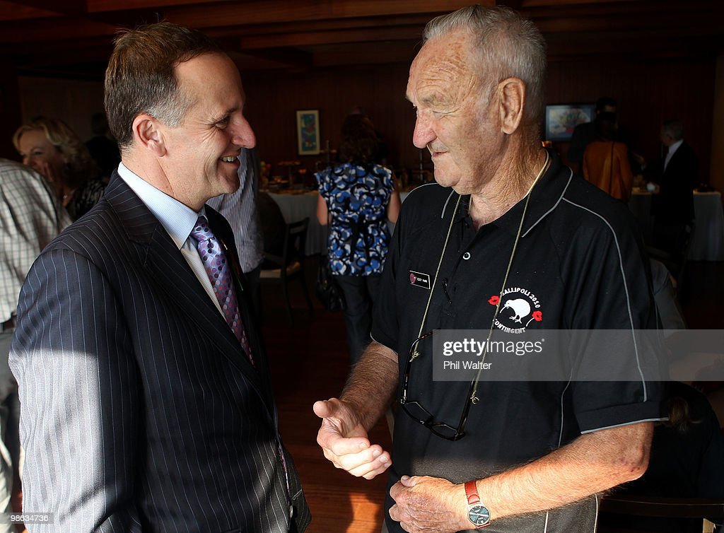 New Zealand Prime Minister John Key (L) meets with New Zealand war veteran Eddy Marr (R) at the Akol Hotel on April 23, 2010 in Gallipoli, Turkey. Today commemorates the 95th anniversary of ANZAC (Australia New Zealand Army Corps) Day, when First World War troops landed on the Gallipoli Peninsula, Turkey early April 25, 1915. Today April 25 is commemorated with ceremonies of remembrance for those who fought and died in all wars.