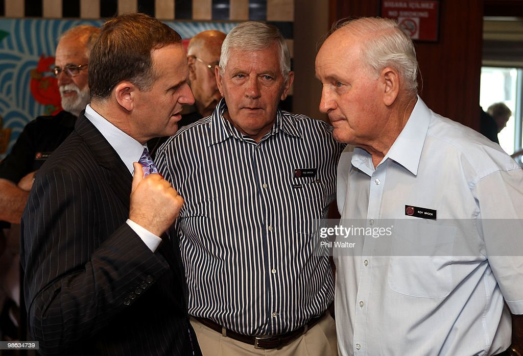 New Zealand Prime Minister John Key (L) meets with New Zealand war veterans Ted and Roy Brock at the Akol Hotel on April 23, 2010 in Gallipoli, Turkey. Today commemorates the 95th anniversary of ANZAC (Australia New Zealand Army Corps) Day, when First World War troops landed on the Gallipoli Peninsula, Turkey early April 25, 1915. Today April 25 is commemorated with ceremonies of remembrance for those who fought and died in all wars.